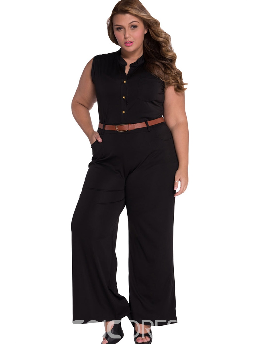 Ericdress Plus Size Button Slim High Waist Jumpsuit(Without Belt)