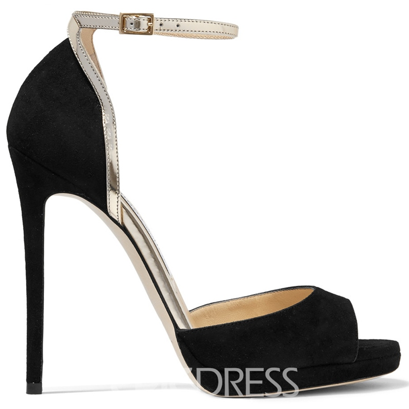 Ericdress Suede Peep Toe Ankle Strap Stiletto Sandals