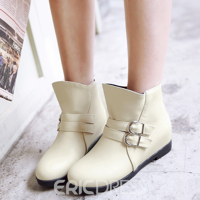 Ericdress Pretty Girl Buckles Round Toe Ankle Boots
