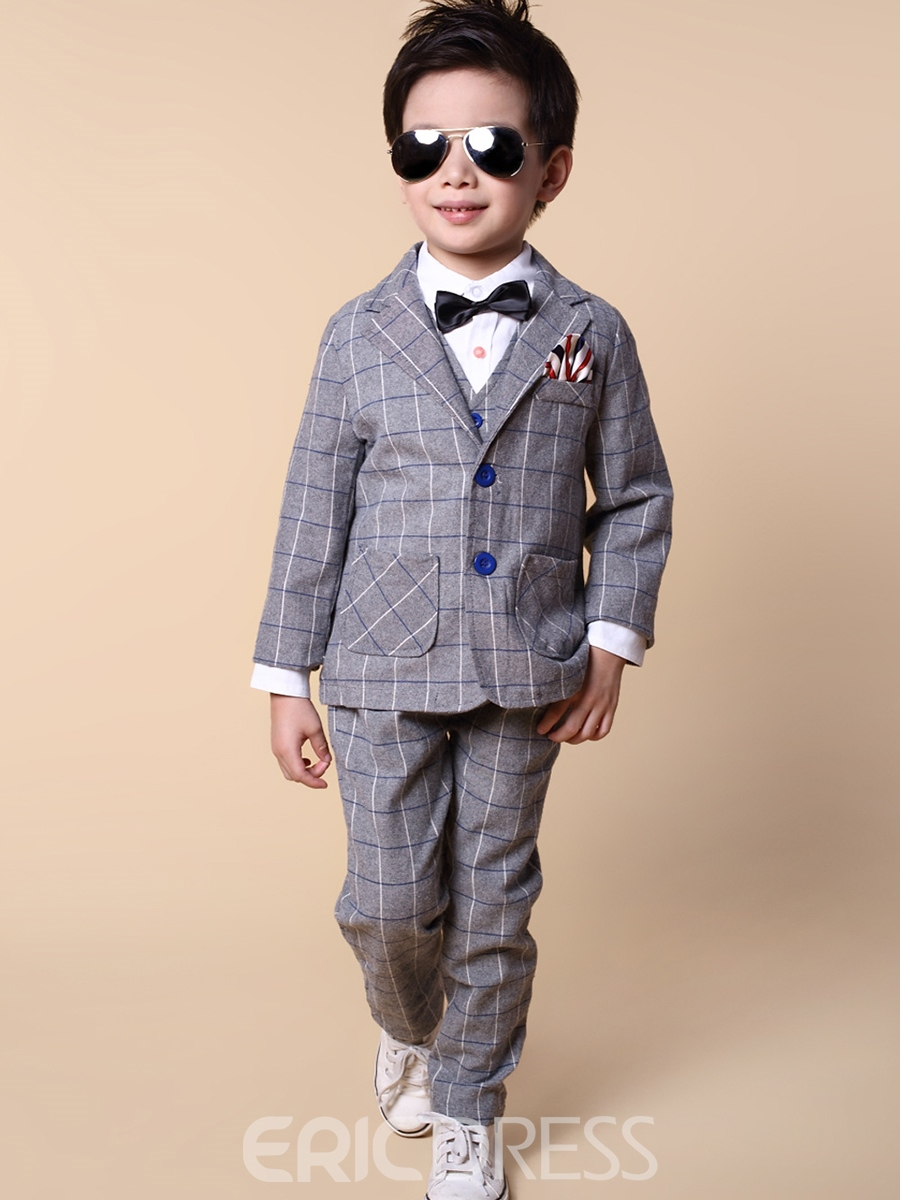 Ericdress Plaid 3-Pcs Vest Pants Boys Suit