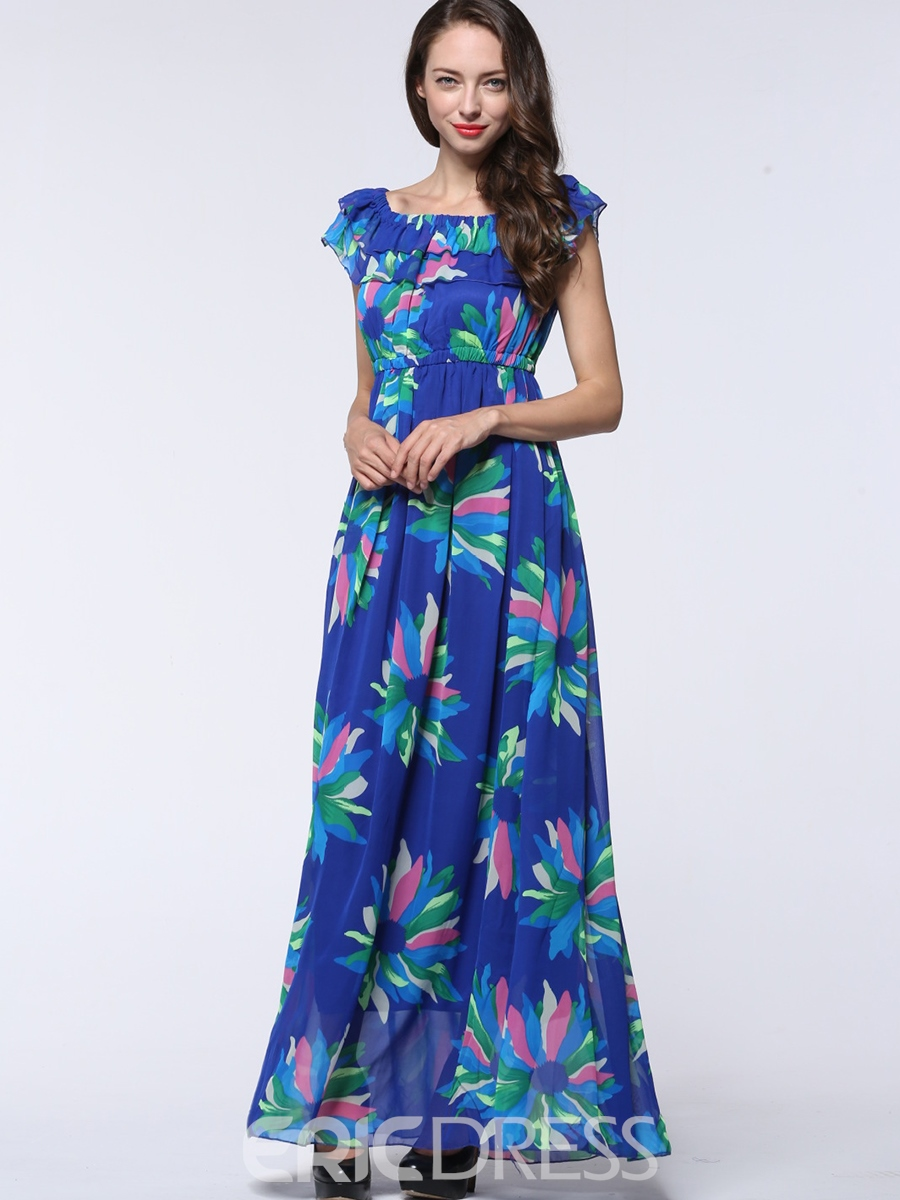 Ericdress Falbala Patchwork Square Neck Print Pleated Maxi Dress