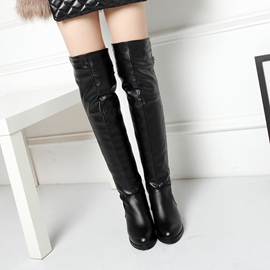 Ericdress PU Chunky Heel Thigh High Boots