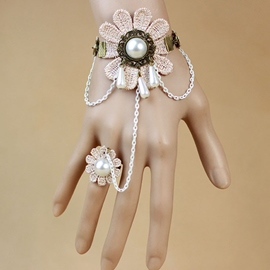Ericdress Beige Flower Ring Bracelet with Pearl