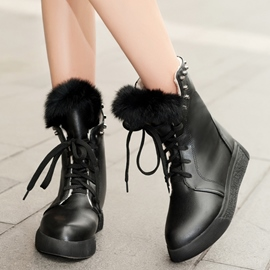 Ericdress Chic Rivets Lace up Ankle Boots