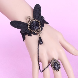 Ericdress Black Butterfly Flower Bracelet with Ring