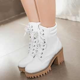 Ericdress PU Round Square Toe Heel Ankle-Boots