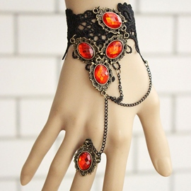 Ericdress Ruby Inlaid Vintage Lace Bracelet with Ring