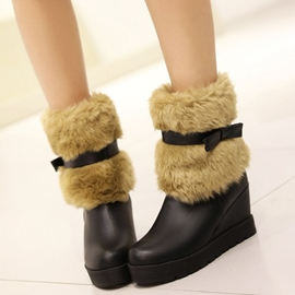 Ericdress Sweet Bowtie Furry Wedge Heel Ankle Boots