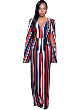 Ericdress Stripe Loose Full Length Jumpsuits Pants