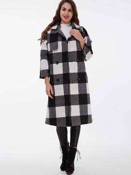 Ericdress Color Block Double-Breasted Plaid Coat