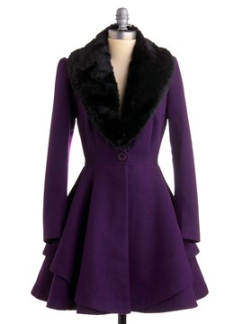 Ericdress Color Block Faux Fur Collar Slim Wave Cut Coat