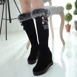 Ericdress Charming Fur Elevator Heel Thigh High Boots