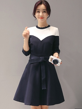 Ericdress Color Block Patchwork Cowl-Neck Belt Casual Dress