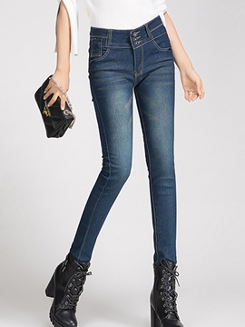 Ericdress Slim High-Waist Spandex Jeans