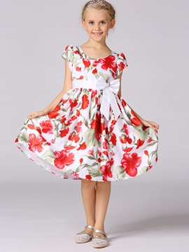 Ericdress Floral Print Bow Princess Girls Dress