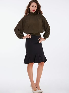 Ericdress Ladylike Puff Sleeve Top Leisure Suit