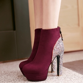 Ericdress Sequin Platform Patchwork High Heel Boots