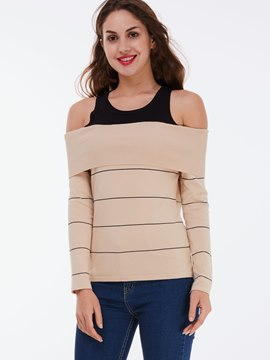 Ericdress Khiaki Stripe Long Sleeve Knitwear
