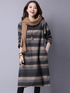 Ericdress Strip Colorful Pocket Casual Dress