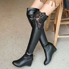 Ericdress Pretty Lace Patchwork Elevator Heel Thigh High Boots