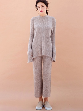 Ericdress Simple Solid Color Knitted Leisure Suit