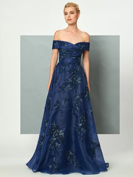 Ericdress A Line Off The Shoulder Applique Organza Floor Length Evening Dress