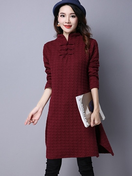 Ericdress Ethnic Mandarin Collar Button Patchwork Casual Dress