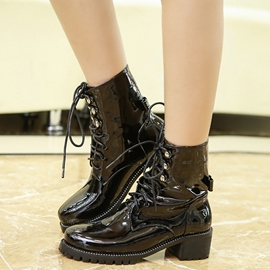 Ericdress Patent Leather Martin Ankle Boots