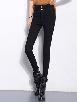 Ericdress Fleece Thick High-Waist Leggings Pants