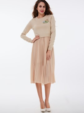Ericdress Vintage Pleated Skirt Leisure Suit