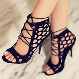 Ericdress Charming Black Cut Out Stiletto Sandals