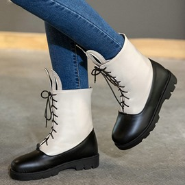 Ericdress Rabbit Ear Patchwork Lace up Ankle Boots