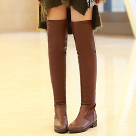 Ericdress PU Round Toe Thigh High Boots