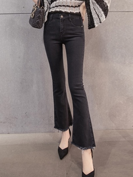 Ericdress Tassel Bellbottoms Slim Jeans