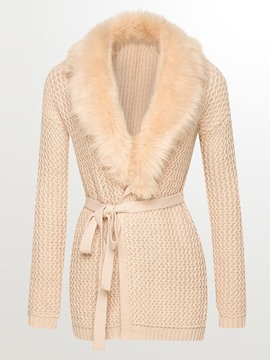 Ericdress Solid Color Faux Fur Collar Slim Knitwear