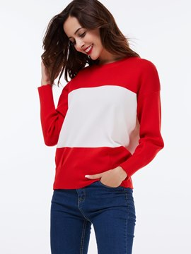 Ericdress Color Block Simple Knitwear