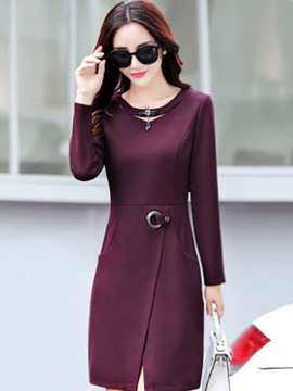 Ericdress Hole Round Collar Pocket Sheath Dress