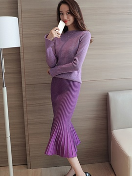 Ericdress Long Sleeve Sweater Falbala Pleated Stripe Skirt Suit