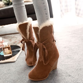 Ericdress Warm Furry Wedge Heel Ankle Boots