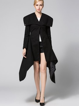 Ericdress Slim Plain Irregular Hem Coat