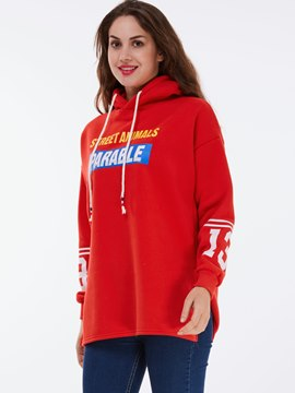 Ericdress Loose Letters Printed Lace-Up Hoodie