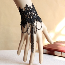 Ericdress Black Lace Bracelet with Tassels
