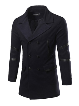 Ericdress Vogue Patchwork Double-Breasted Woolen Slim Men's Coat