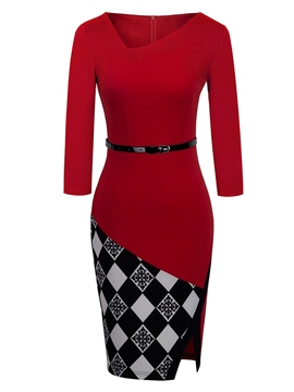 Ericdress V-Neck Patchwork Split Sheath Dress
