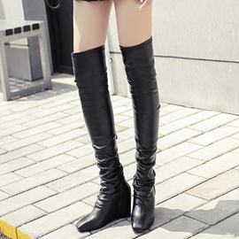 Ericdress Chic PU Elevator Heel Knee High Boots
