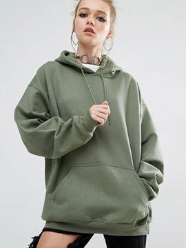Ericdress Solid Color Loose BF Hoodie