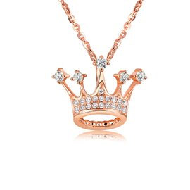 Ericdress S925 Silver Crown Diamante Rose Gold Necklace