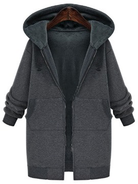 Ericdress Loose Solid COlor Fleece Coat