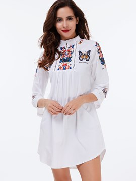 Ericdress White Embroidery Pleated Blouse