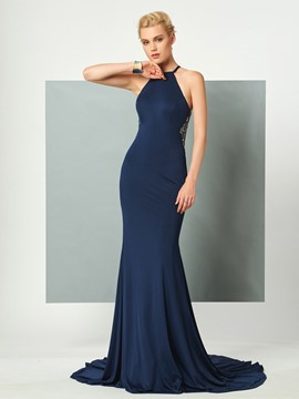 Ericdress Halter Court Train Mermaid Evening Dress With Criss-Cross Back